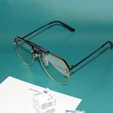 8865 HD Polarized UV Protection Color Pilot-style Frameless Sunglasses (Black Frame Transparent)