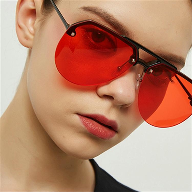 8865 HD Polarized UV Protection Color Pilot-style Frameless Sunglasses (Tortoise Frame Dark Green)