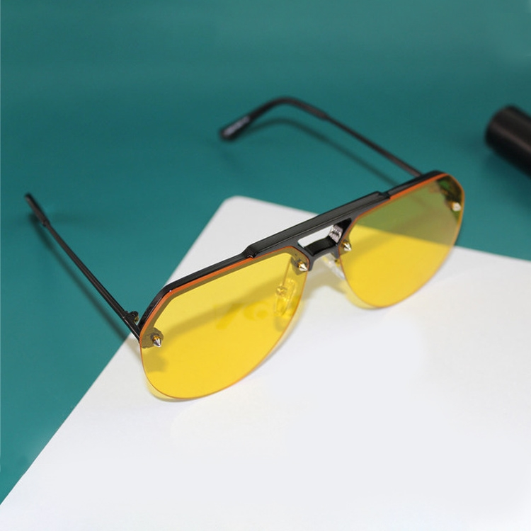 8865 HD Polarized UV Protection Color Pilot-style Frameless Sunglasses (Black Frame Yellow)