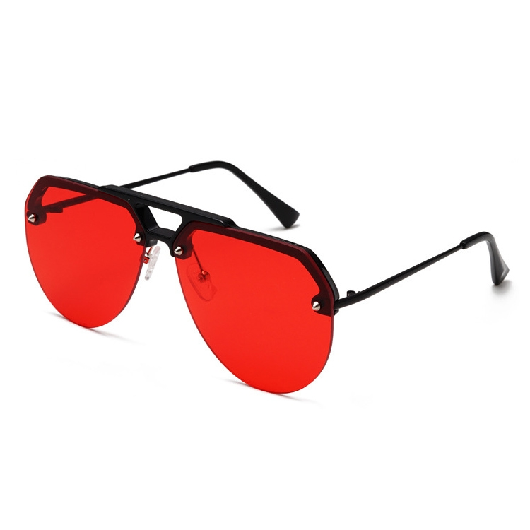 8865 HD Polarized UV Protection Color Pilot-style Frameless Sunglasses (Black Frame Red)