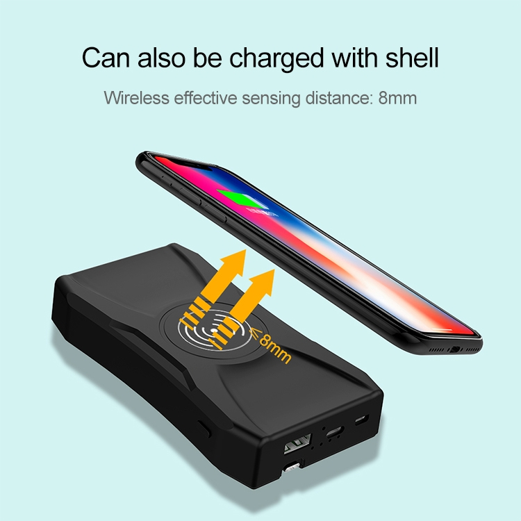 K005 10W PD3.0 USB-C / Type-C + QC3.0 USB + QI Wireless Fast Charge Power Bank with USB-C / Type-C + Micro USB + 8 Pin Interface Data Cable, Battery Capacity: 10000mAh