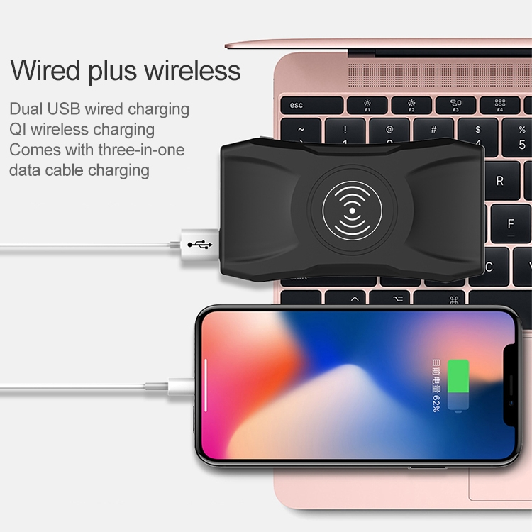 K004 5W Dual USB Interface + QI Wireless Fast Charge Power Bank with USB-C / Type-C + Micro USB + 8 Pin Interface Data Cable, Battery Capacity: 8000mAh