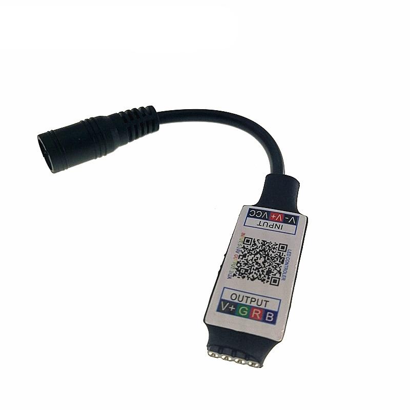 Mini RGB Bluetooth Controller Light Strip Controller For RGB LED Strip DC5V 12V 24V (Black)