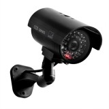 Waterproof Dummy CCTV Camera With Flashing LED For Realistic Looking for Security Alarm (black)
