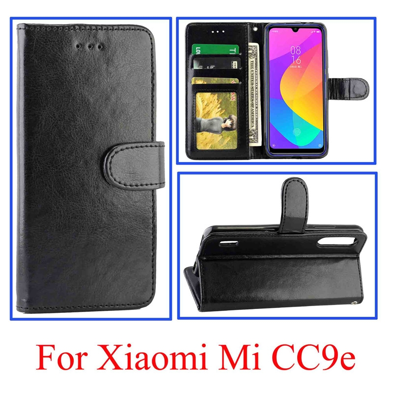 For Xiaomi MI CC9e/A3 Lite Crazy Horse Texture Horizontal Flip Leather Case with Holder & Card Slots & Wallet & Photo Frame (black)