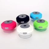 BTS-08 Wireless Bluetooth Speaker Waterproof Led FM Radio Subwoofer Bluetooth Column TF Card Suction Cup Mini Shower Speaker (Black)