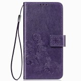 For Huawei Mate 30 Pro Lucky Clover Pressed Flowers Pattern Leather Case with Holder & Card Slots & Wallet & Hand Strap (Purple)