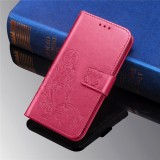 For Galaxy M30 Four-leaf Clasp Embossed Buckle Mobile Phone Protection Leather Case with Lanyard & Card Slot & Wallet & Bracket Function (Magenta)