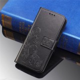 For Galaxy M30 Four-leaf Clasp Embossed Buckle Mobile Phone Protection Leather Case with Lanyard & Card Slot & Wallet & Bracket Function (Black)