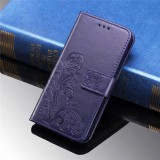 For Galaxy M30 Four-leaf Clasp Embossed Buckle Mobile Phone Protection Leather Case with Lanyard & Card Slot & Wallet & Bracket Function (Purple)