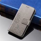 For Galaxy M30 Four-leaf Clasp Embossed Buckle Mobile Phone Protection Leather Case with Lanyard & Card Slot & Wallet & Bracket Function (Gray)