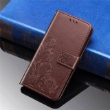 For Galaxy M30 Four-leaf Clasp Embossed Buckle Mobile Phone Protection Leather Case with Lanyard & Card Slot & Wallet & Bracket Function (Brown)