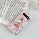For Galaxy S10 Plus Plating Colorful Geometric Pattern Mosaic Marble TPU Mobile Phone Case Rhinestone Stand Ring (Pink PR1)