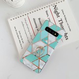 For Galaxy S10 Plus Plating Colorful Geometric Pattern Mosaic Marble TPU Mobile Phone Case Rhinestone Stand Ring (Green PR2)