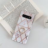 For Galaxy S10 Plating Colorful Geometric Pattern Mosaic Marble TPU Mobile Phone Case Rhinestone Stand Ring (White PR3)