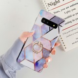 For Galaxy S10 Plating Colorful Geometric Pattern Mosaic Marble TPU Mobile Phone Case Rhinestone Stand Ring (Purple PR4)