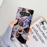 For Galaxy S10 Plating Colorful Geometric Pattern Mosaic Marble TPU Mobile Phone Case Rhinestone Stand Ring (Black PR6)
