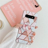 For Galaxy S10 Plus Plating Colorful Geometric Pattern Mosaic Marble TPU Mobile Phone Case with Folding Bracket (Pink PF1)
