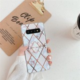 For Galaxy S10 Plus Plating Colorful Geometric Pattern Mosaic Marble TPU Mobile Phone Case with Folding Bracket (White PF3)