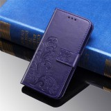 For Xiaomi 9 Pro Lucky Clover Pressed Flowers Pattern Leather Case with Holder & Card Slots & Wallet & Hand Strap (Purple)