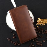 For Galaxy A80/A90 Double Buckle Crazy Horse Business Mobile Phone Holster with Card Wallet Bracket Function (Brown)