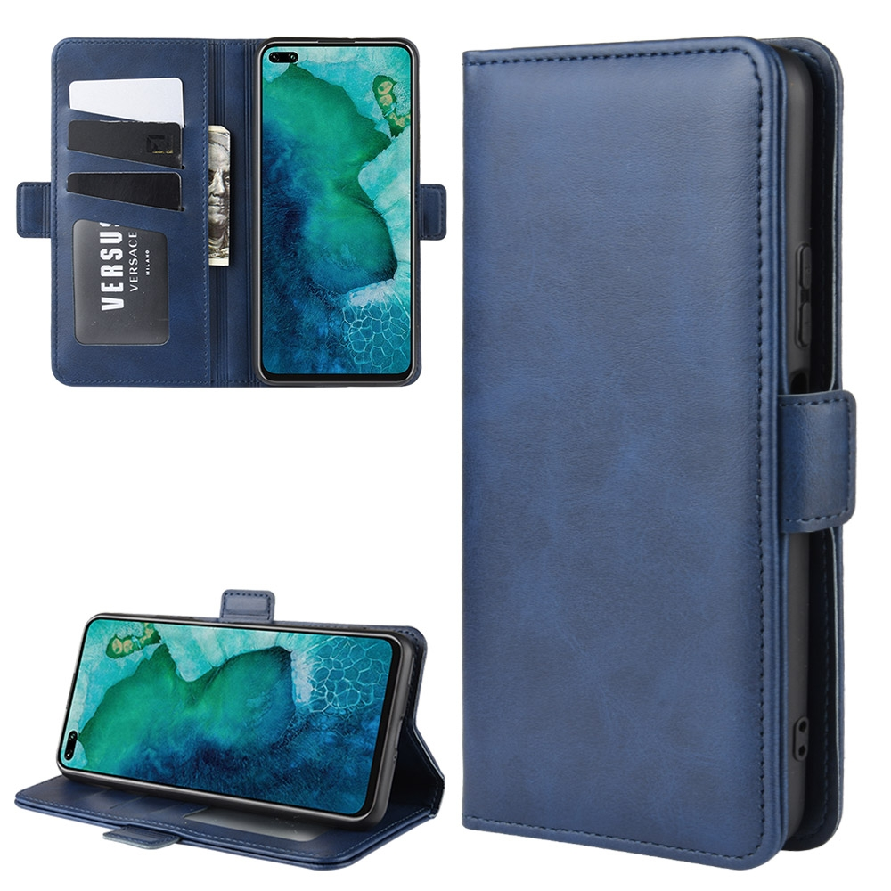 For Huawei Honor V30/V30 Pro Dual-side Magnetic Buckle Horizontal Flip Leather Case with Holder & Card Slots & Wallet (Dark Blue)