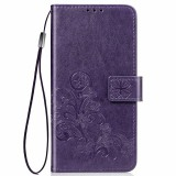 For Xiaomi Mi Note10 Pro Lucky Clover Pressed Flowers Pattern Leather Case with Holder & Card Slots & Wallet & Hand Strap (Purple)