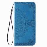 For Huawei Honor V30 Pro / V30 Halfway Mandala Embossing Pattern Horizontal Flip Leather Case with Holder & Card Slots & Wallet & Photo Frame & Lanyard (Blue)