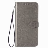 For Huawei Honor V30 Pro / V30 Halfway Mandala Embossing Pattern Horizontal Flip Leather Case with Holder & Card Slots & Wallet & Photo Frame & Lanyard (Gray)