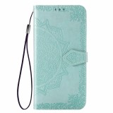 For Huawei Honor V30 Pro / V30 Halfway Mandala Embossing Pattern Horizontal Flip Leather Case with Holder & Card Slots & Wallet & Photo Frame & Lanyard (Green)