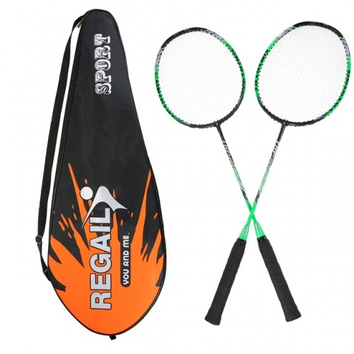 REGAIL 8019 2 in1 Carbon Durable Badminton Racket with Tote Bag (Green)