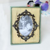 2 PCS Vintage Wooden Photo Frame Home Decor Wedding Desktop Wall Picture Frame (Yellow)