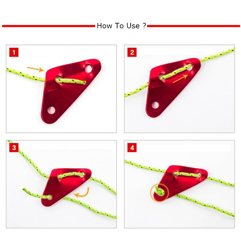3 PCS Triangle Aluminum Alloy Wind Rope Buckle Adjustment Buckle Tent Canopy Pull Rope Slip Rope Buckle Accessories (Red)