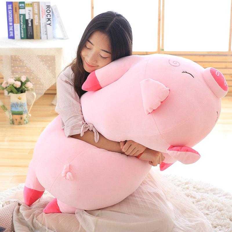 40-100cm Bigger Size Toys Cartoon Pink Pig Plush Toys Pillow Soft Cushion Chinese Zodiac Pig Doll Birthday Gift, Height: 60cm (Pink)