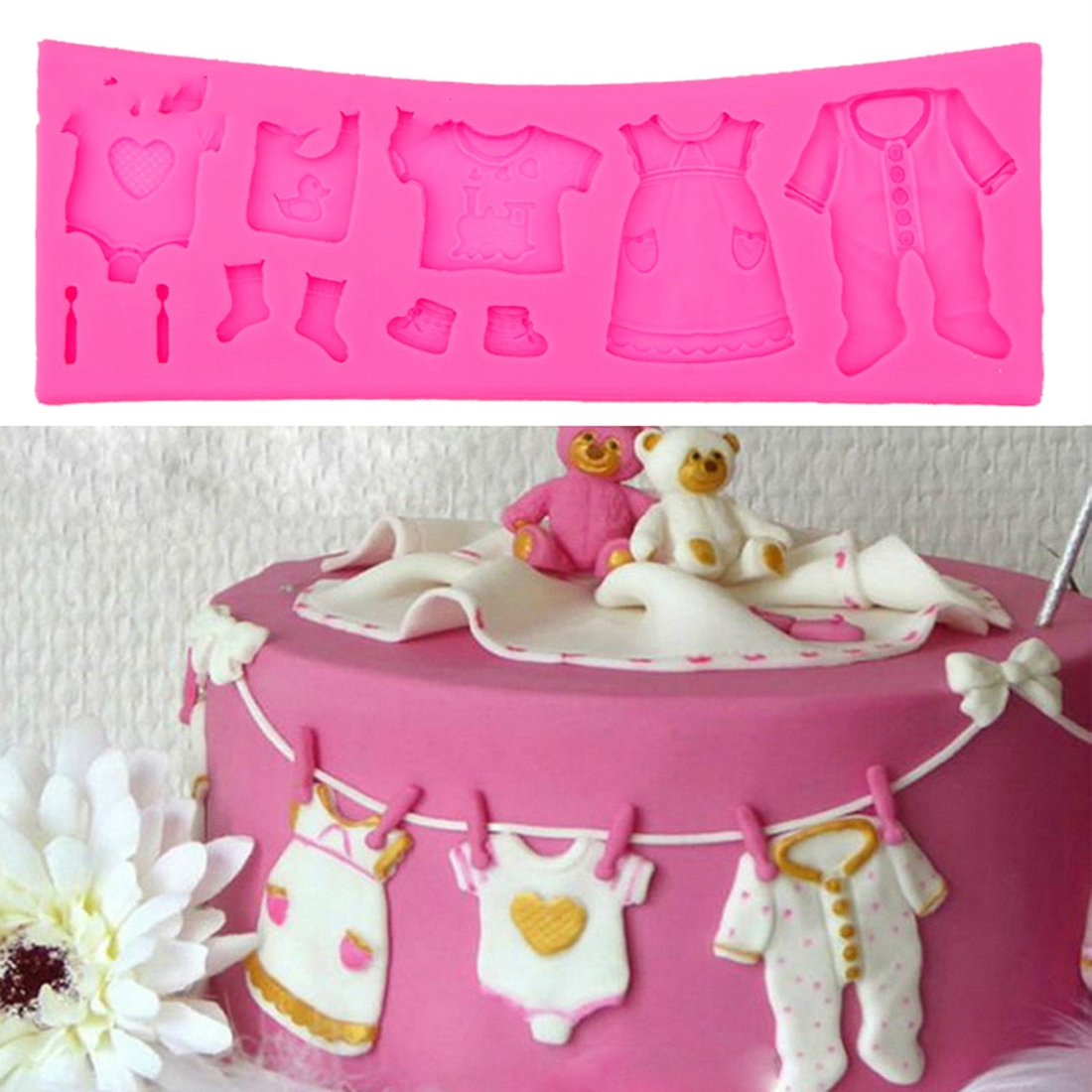 2 PCS Baking Mold Baby Shoes Fondant Cake Mold Kid Clothes Silicone DIY Chocolate West Point Mold