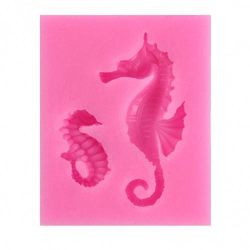 2 PCS Hippocampus DIY Modeling Mold Fondant Silicone Cake Chocolate Mold Baking Tool (Pink)