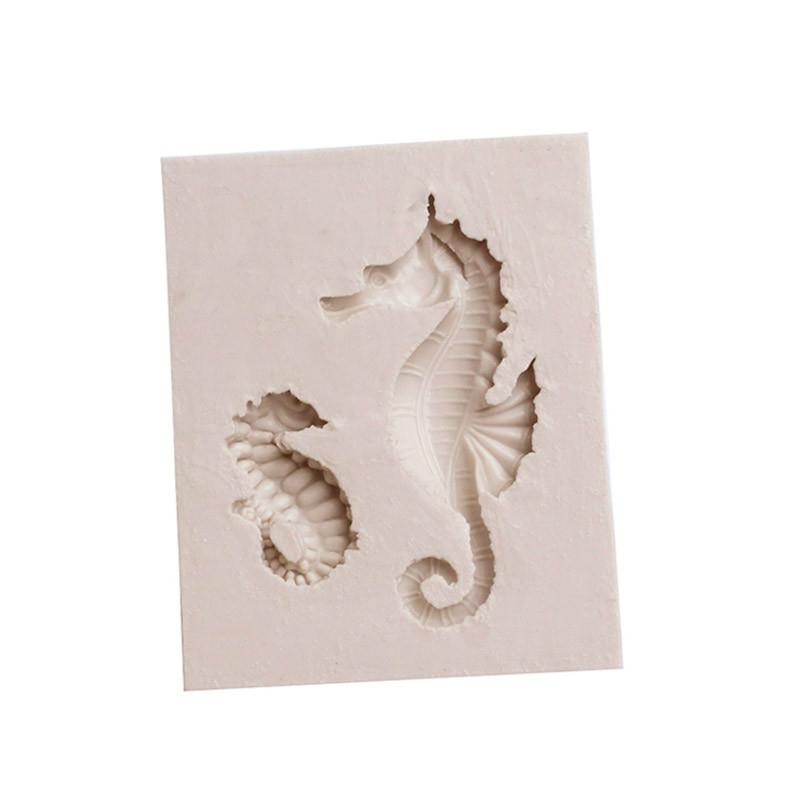 2 PCS Hippocampus DIY Modeling Mold Fondant Silicone Cake Chocolate Mold Baking Tool (Gray)