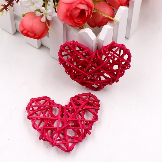 5 PCS 6cm Artificial Straw Ball DIY Decoration Rattan Heart Christmas Decor Home Ornament (Rose Red)