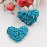 5 PCS 6cm Artificial Straw Ball DIY Decoration Rattan Heart Christmas Decor Home Ornament (Light Blue)
