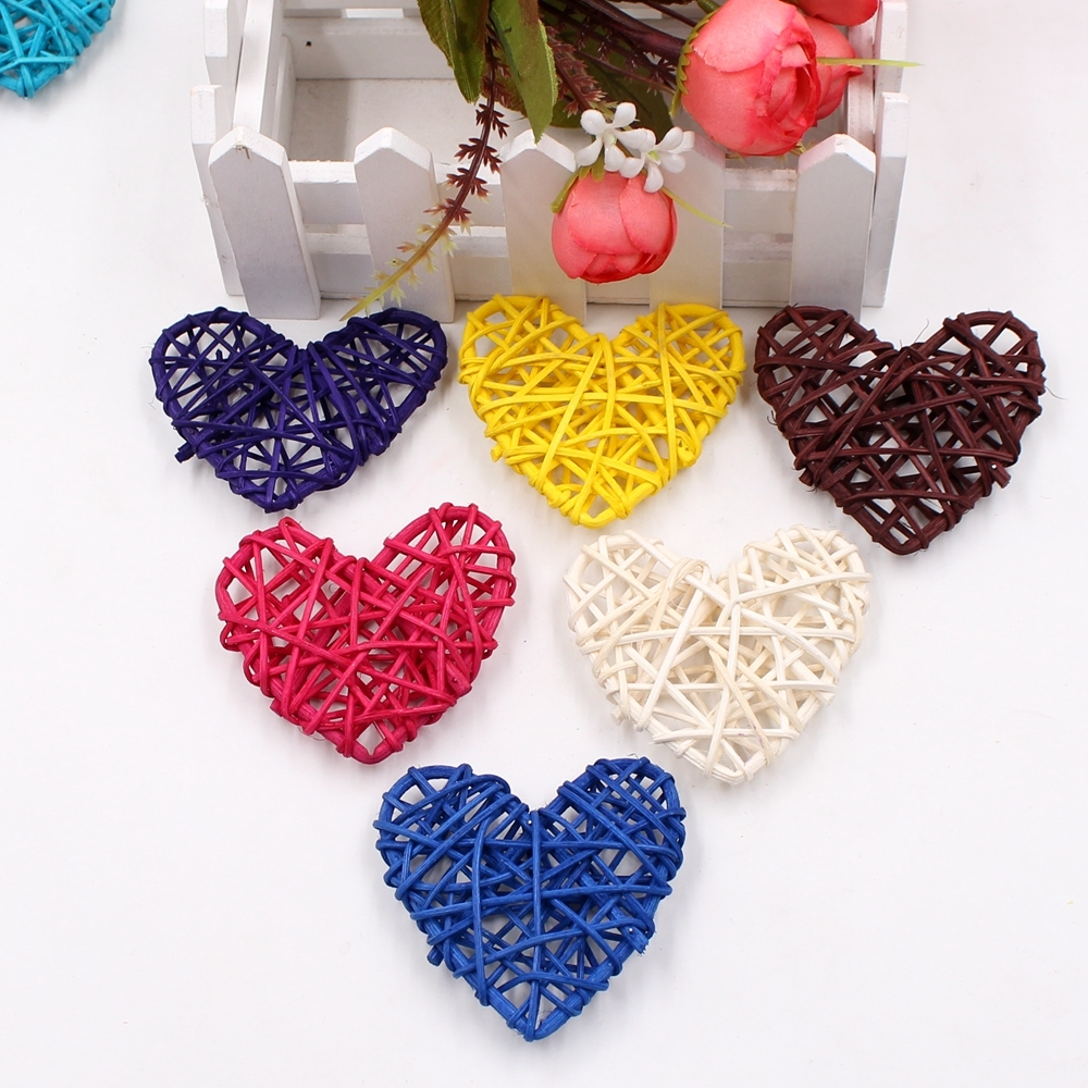 5 PCS 6cm Artificial Straw Ball DIY Decoration Rattan Heart Christmas Decor Home Ornament (Brown)