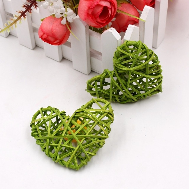 5 PCS 6cm Artificial Straw Ball DIY Decoration Rattan Heart Christmas Decor Home Ornament (Green)
