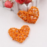 5 PCS 6cm Artificial Straw Ball DIY Decoration Rattan Heart Christmas Decor Home Ornament (Orange)