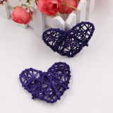 5 PCS 6cm Artificial Straw Ball DIY Decoration Rattan Heart Christmas Decor Home Ornament (Purple)