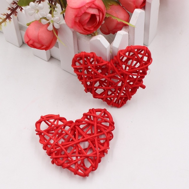 5 PCS 6cm Artificial Straw Ball DIY Decoration Rattan Heart Christmas Decor Home Ornament (Red)