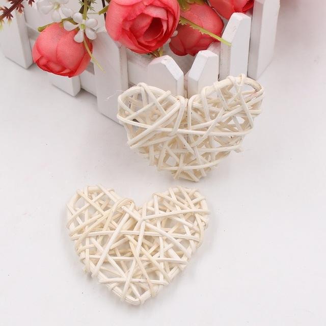 5 PCS 6cm Artificial Straw Ball DIY Decoration Rattan Heart Christmas Decor Home Ornament (White)