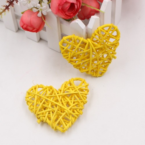 5 PCS 6cm Artificial Straw Ball DIY Decoration Rattan Heart Christmas Decor Home Ornament (Yellow)