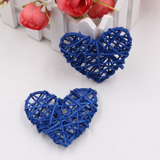 5 PCS 6cm Artificial Straw Ball DIY Decoration Rattan Heart Christmas Decor Home Ornament (Dark Blue)