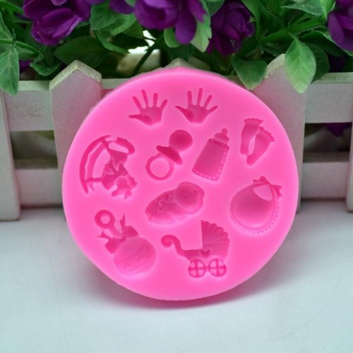 2 PCS Baby Hand Foot Shape DIY Mold Fondant Silicone Cake Chocolate Mold Baking Tool
