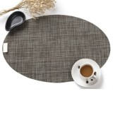 PVC Oval Shape Dining Table Mat Heat Insulation Non-Slip Placemats Disc Bowl Tableware Pads (Brown)