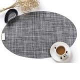 PVC Oval Shape Dining Table Mat Heat Insulation Non-Slip Placemats Disc Bowl Tableware Pads (Grey)